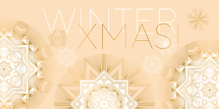 Concept elegant geometry snowflake and star design element for xmas card, invitation, banner, poster. Christmas and New years geometric ornamental motif