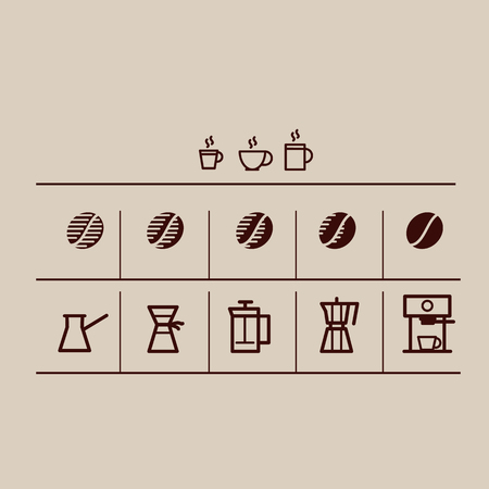 coffee grain and making coffee icons set. roasting gradient. simple vector illustration