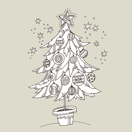 Cute doodle hand drawn xmas tree for coloring. Christmas tree with baubles in the pot.