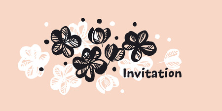 Flowers hand drawn color invitation template. Sketch cherry, sakura blooming vintage pink background with text space. Black and white blossom. Decorative floral banner, poster greeting card design