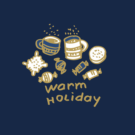 Christmas hand drawn greeting card vector template. Warm holiday sketch lettering. Tea cups, biscuits, cookies, sweets doodle drawing. Xmas treats blue background. New Year banner, poster design