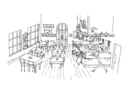 Cafe hand drawn linear illustration. Restaurant, canteen, eatery, bistro interior black ink pen sketch. Catering service freehand contour drawing. Serving waiters perspective outline vector Ilustrace