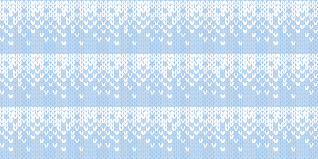 Pale blue and white traditional sweater seamless pattern for winter design project. Cold colors Christmas and New Year abstract soft background. Vector illustration.