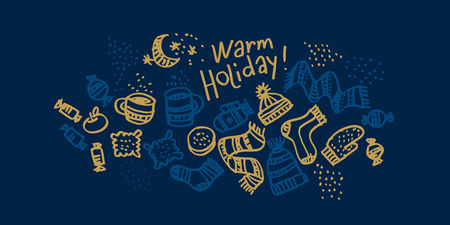 Christmas hand drawn greeting card vector template. Winter warm holiday sketch on night blue. Background with outline doodle hats, socks, sweets, mittens. Xmas, New year banner, poster design