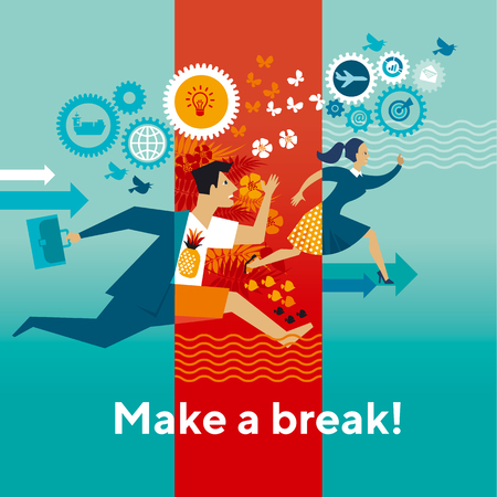 Running businessmen flat vector color illustration. Make a break typography. Office workers hurry up through seasons cartoon characters. Whole year job rush. Non stop business routine banner template