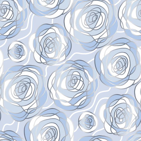 Blue and silver abstract roses seamless pattern for winter design project. Cold colors Christmas and New Year abstract floral background. Vector illustration.