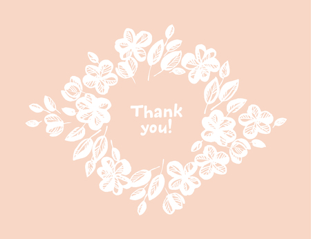 Thank you hand drawn vector lettering. Floral sketch frame for text on pink background. Isolated border with copyspace and cherry, sakura flowers. Gratitude card, banner, poster doodle design template