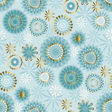 Luxury floral style snowflakes seamless pattern. Pale elegant light green repeatable motif. Vector stock illustration.
