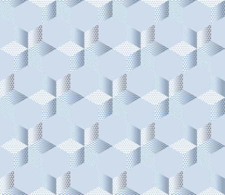Light pale traditional patchwork with stars seamless pattern for winter design project. Cold colors Christmas and New Year abstract geometric background. Vector illustration.