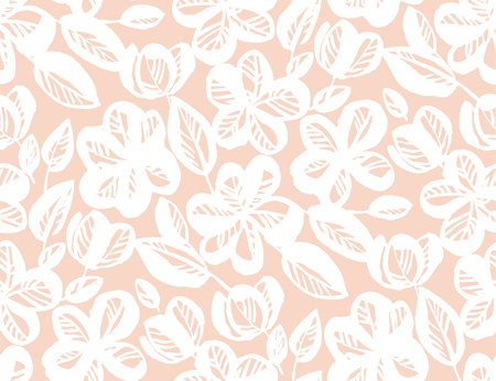 Floral hand drawn seamless pattern. Sketch texture with white blooming flowers and leaves. Sakura, cherry blossom vintage pink background. Soft textile, wallpaper, wrapping paper vector fill Ilustrace