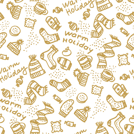 Christmas hand drawn seamless pattern. Knitted winter clothing and sweets doodle texture. Warm holiday freehand lettering. Xmas sketch background. New Year beige wrapping paper, textile vector fill