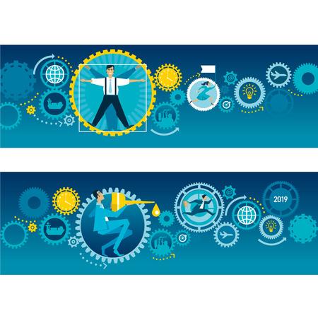 Business mechanism flat concept illustration. Teamwork. Working process organization. Business integration and cooperation. Businessmen characters with cogwheels. Banner, presentation cartoon design