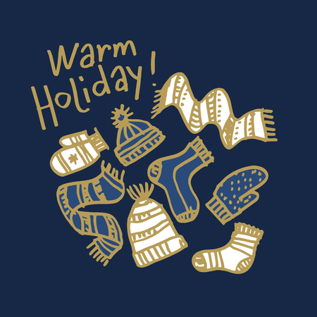 Christmas hand drawn greeting card vector template. Warm holiday sketch lettering. Winter clothing blue background. Knitted hats, scarves, socks, mittens doodle drawing. New Year banner, poster design