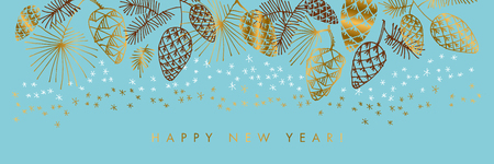 Happy New Year color vector banner template. Golden gradient lettering and hand drawn pine cones. Sketch fir tree branches, pinecones and stars on blue background. Invitation, poster illustration Vektorové ilustrace