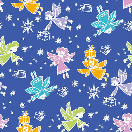 Christmas hand drawn seamless vector pattern. Cute angels characters with gift boxes, presents. Doodle winter holiday color background fill. New Year, Xmas wrapping paper, textile sketch illustration Ilustrace