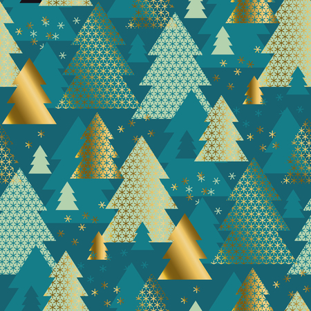 Green geometric Christmas tree seamless pattern. Classic simple repeatable motif for winter holiday project. Modern new year vector illustration. Xmas geometry abstract pattern. 矢量图像