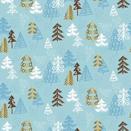 Hand drawn Christmas tree seamless naive pattern in luxury marine gray colors. gold and blue winter fest repeatable motif. xmas tree and stars vector illustration