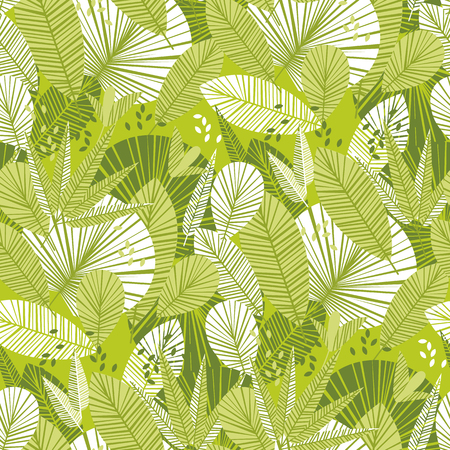 Tropical tender green leaves seamless pattern. Fresh spring decorative vector. Exotic summer tile motif for fabric, wrapping paper, background and surface projects