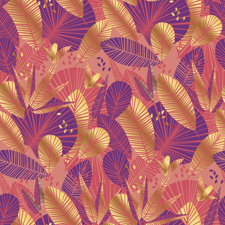 abstract tropical coral nad gold seamless pattern for background, wrapping paper, fabric on blue checkered background. rain forest endless repeatable motif for surface design. vector illustration