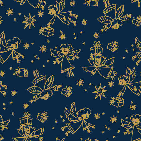 Naive hand drawn cute xmas angel seamless pattern. Line art simple winter illustration. Christmas childish motif for fabric, wrapping paper, background, web and print. naive winter holiday sketch