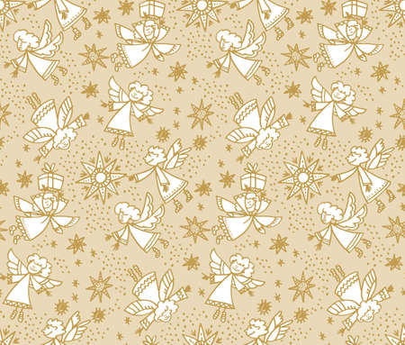 Christmas hand drawn seamless vector pattern. Cute flying angels characters with gifts. Outline drawing. Doodle winter holiday background. New Year, Xmas wrapping paper, textile sketch illustration