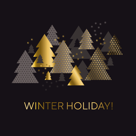 Luxury black and gold minimal geometric Christmas tree card template. Elegant simple motif for winter holiday project. Modern new year vector illustration. Xmas geometry abstract pattern.