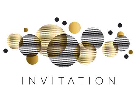 Elemento de geometría círculos dorados y negros para encabezado, tarjeta, invitación, póster. Ilustración abstracta de lujo de vector con formas geométricas con textura. Ilustración de vector