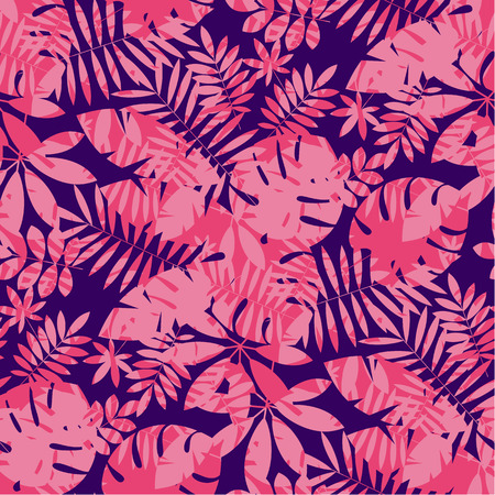 Tropical leaves in rose coral and deep blue colors. Seamless decorative vector pattern. Exotic summer tile motif for web and surface projects Illustration