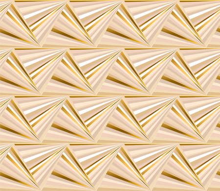 Geometric color seamless pattern. Abstract mosaic triangles texture. Striped background with beige, black and golden lines. Decorative luxury textile, wallpaper, wrapping paper vector fill Illustration
