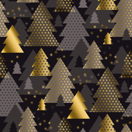Luxury black and gold minimal geometric Christmas tree seamless pattern. Classic simple repeatable motif for winter holiday project. Modern new year vector illustration. Xmas geometry abstract pattern.