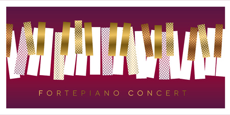 Luxury gold and red invitation for music concert, Classic piano keyboard in geometric mosaic style. Elegant urban modern design element for music and dance projects.