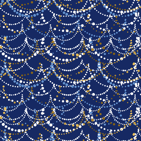 Elegant Christmas garland seamless pattern. Festive dot lines repeatable motif. Simple minimal holiday motif for fabric, wrapping paper. Xmas lights on deep blue color background. vector illustration.