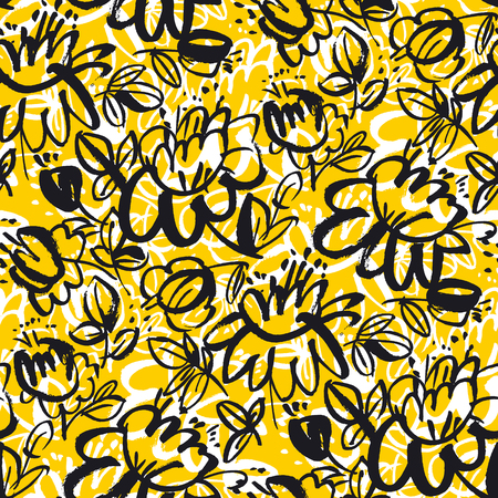 Floral blossom hand drawn seamless vector pattern. Sketch texture with black and white blooming flowers. Ink pen drawing. Vintage yellow background. Ornate textile, wallpaper, wrapping paper design Ilustrace