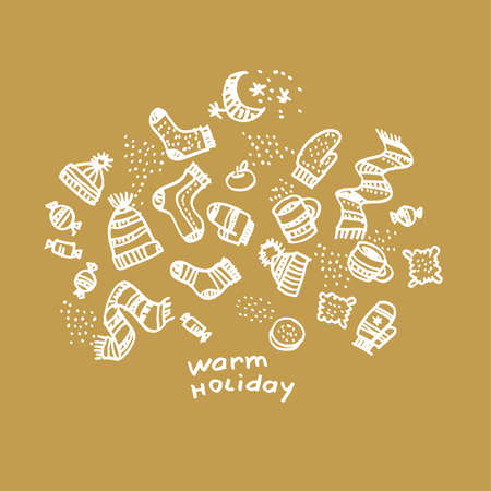 Christmas hand drawn greeting card vector template. Winter warm holiday sketch white lettering Background with outline doodle hats, socks, sweets, mittens. Xmas, New year banner, poster design 向量圖像