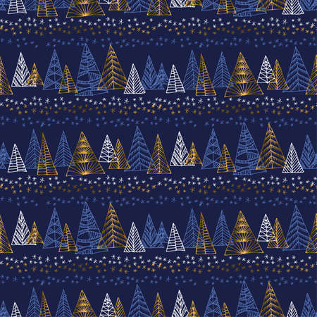 Hand drawn naive Christmas tree seamless pattern. Gold sparkling sketch with xmas trees for background, wrapping paper, fabric. Vector vintage luxury illustration
