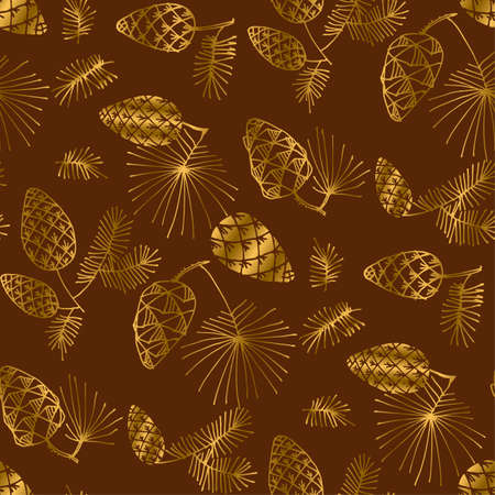 Hand drawn pine for Christmas seamless pattern. Gold and brown sketch of xmas tree branch for background, wrapping paper, fabric. Vector vintage luxury illustration