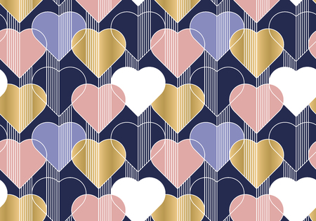 Hearts color seamless vector pattern. Abstract background with linear shapes. Romantic postcard ornament. Love, romance contour drawing. Valentines day wrapping paper, wallpaper print design