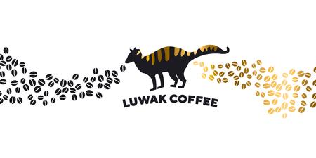 Modèle de bannière de café Luwak. Silhouette noire de civette de palmier asiatique. Vecteurs