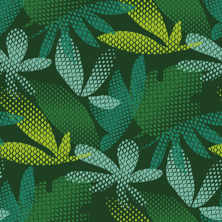 Tropical leaves hand drawn seamless pattern. Vectores
