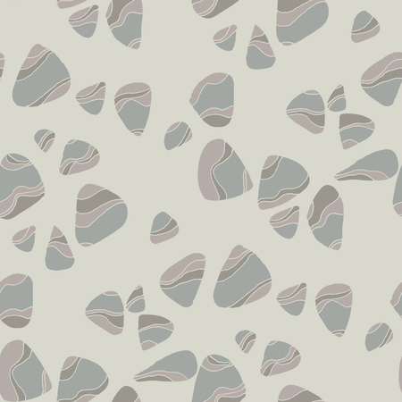 River pebbles hand drawn vector seamless pattern. Striped stones texture. Wavy gravel flat drawing. Abstract seashore rocks on grey background. Textile, wallpaper, wrapping paper natural design