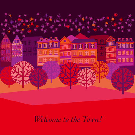 Cityscape hand drawn greeting card template. Autumn street view scandinavian style illustration. City landscape cartoon flat texture. Welcome to the town lettering. Urban poster design with copyspace
