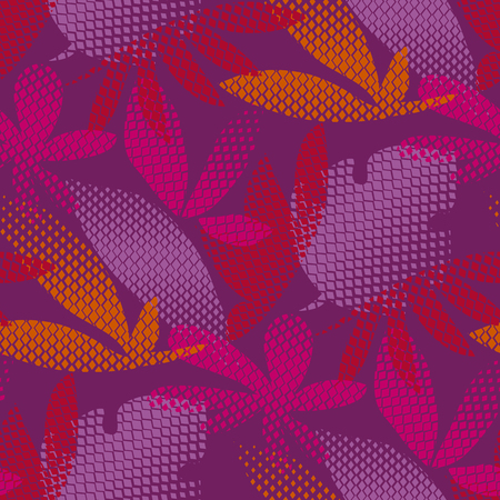 Tropical leaves hand drawn seamless pattern. Autumn foliage ornate pixel texture. Exotic hawaii plants silhouettes. Abstract purple background. Natural wallpaper, wrapping paper vector color design Vectores