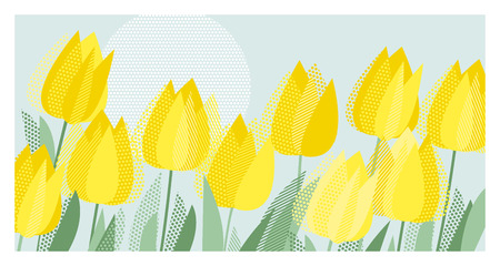 Blue and yellow decorative tulip floral postcard template. Motif with abstract spring tulips. Vintage vibes dot and stripe textured element for invitation, header, poster, surface design. 向量圖像