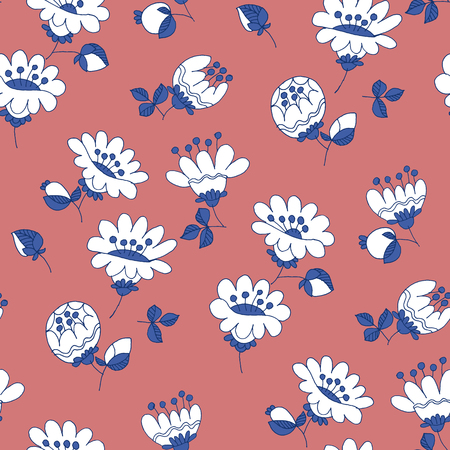 White flowers hand drawn vector seamless pattern. Sketch texture with inflorescence. Flat color flowering contour drawing. Botanical, floral textile, wallpaper, wrapping paper cartoon design Ilustrace