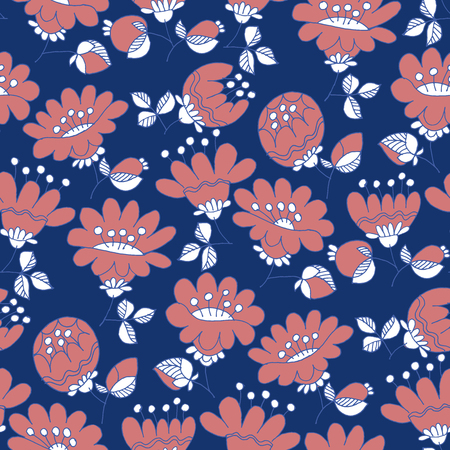 Vintage blossom hand drawn seamless pattern. Sketch backdrop with inflorescence . Elegant flowering on flat blue background. Botanical textile, wrapping paper, wallpaper cartoon design