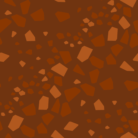 Geometrical particles flat seamless pattern. Abstract broken glass pieces hand drawn texture. Brown background with low poly patchwork. Textile, wallpaper, wrapping paper dark color design Illusztráció