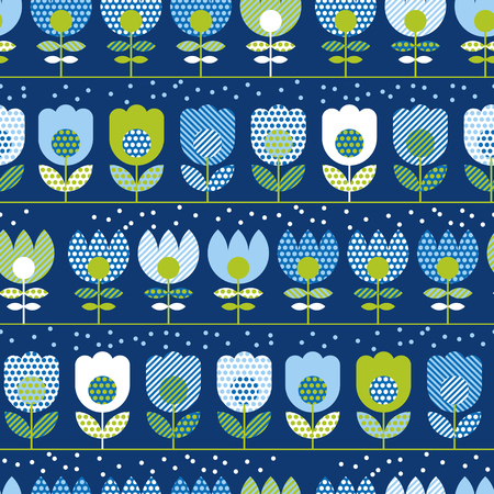 Naive folk style spring flowers seamless pattern. Decorative geometric floral ornament in blue and green colors for textile, background, wrapping paper, cards.