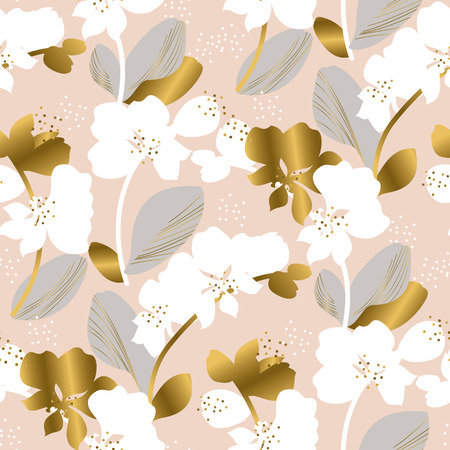 Tropical floral silhouette seamless pattern. Tender pastel color orchid flower repeatable motif. Luxury elegant natural forms repeat image. For textile, fabric, wrapping paper, surface design.  イラスト・ベクター素材