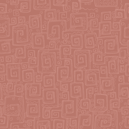 Hand drawn antique meander seamless pattern.