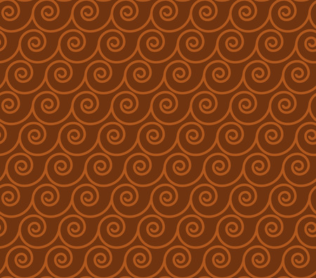 Vintage greek style simple wavy seamless pattern. Brown terracotta color tile background for surface design, fabric, wrapping paper